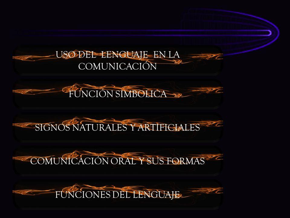 USO DEL LENGUAJE EN LA COMUNICACIÓN FUNCIÓN SIMBOLICA SIGNOS NATURALES Y ARTIFICIALES COMUNICACIÓN ORAL Y SUS FORMAS FUNCIONES DEL LENGUAJE