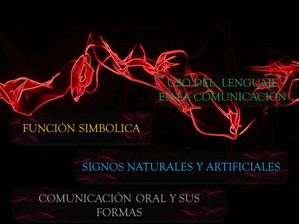 USO DEL LENGUAJE EN LA COMUNICACIÓN FUNCIÓN SIMBOLICA SIGNOS NATURALES Y ARTIFICIALES COMUNICACIÓN ORAL Y SUS FORMAS