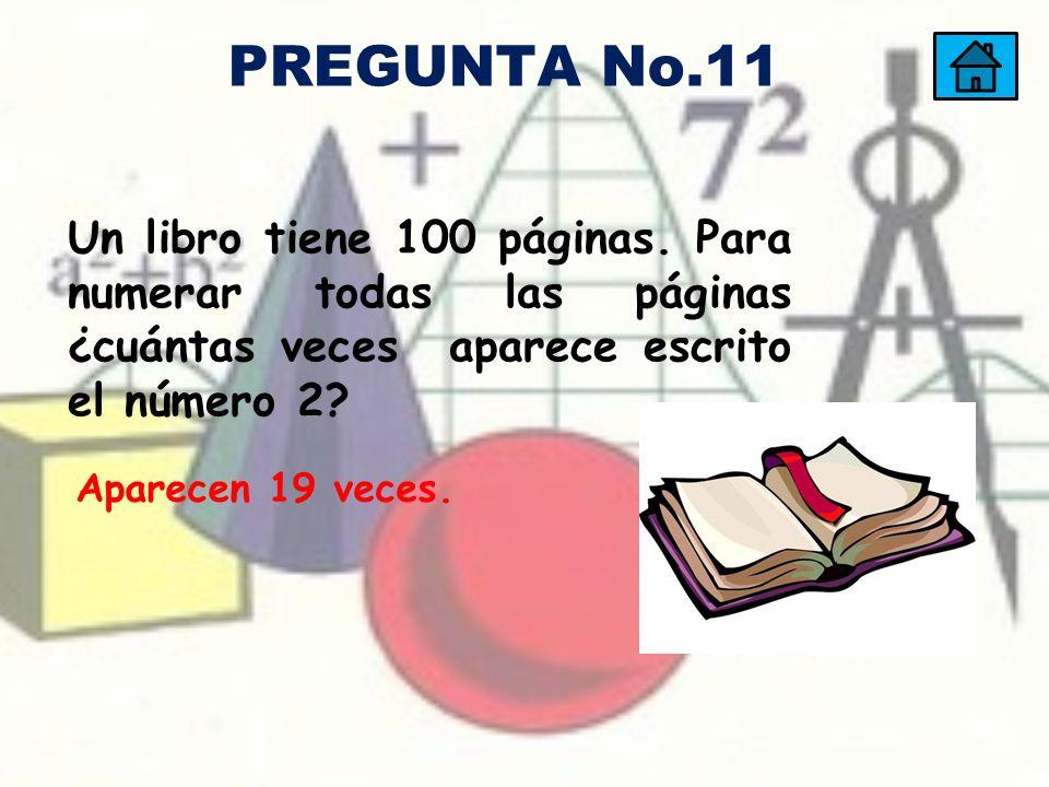Un libro tiene 100 páginas. Para numerar todas las páginas ¿cuántas veces aparece escrito el número 2? Aparecen 19 veces. PREGUNTA No.11