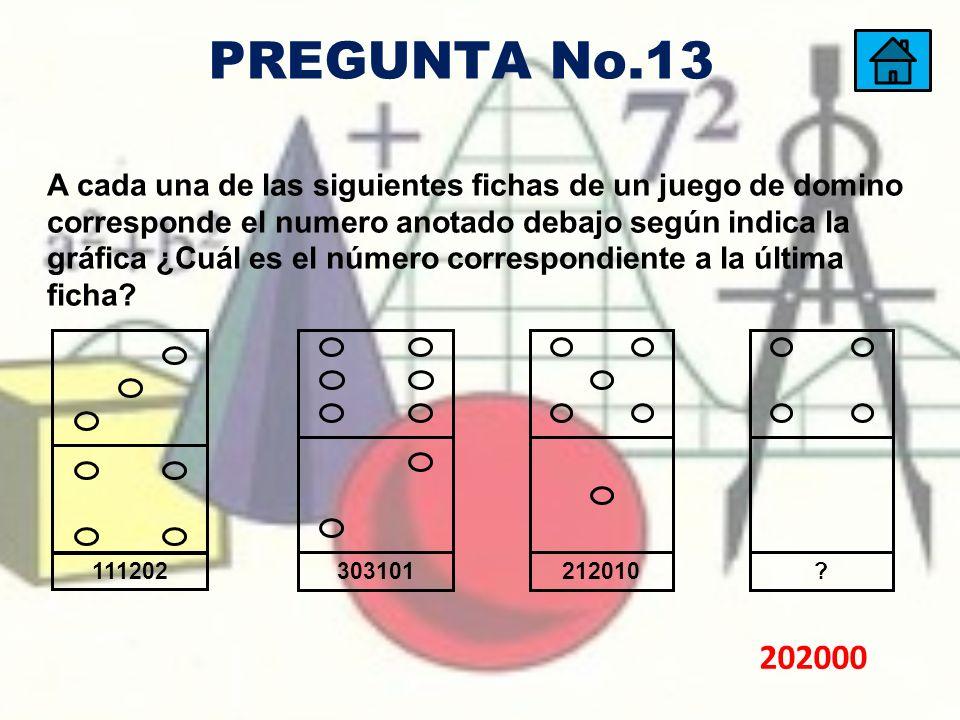 A cada una de las siguientes fichas de un juego de domino corresponde el numero anotado debajo según indica la gráfica ¿Cuál es el número correspondie