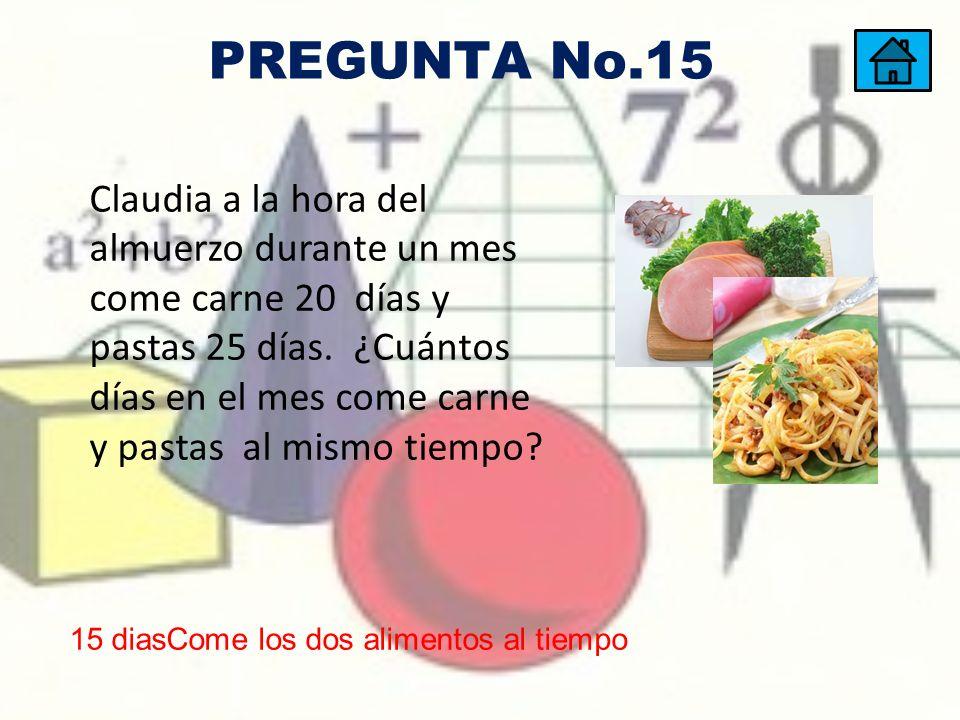 Claudia a la hora del almuerzo durante un mes come carne 20 días y pastas 25 días. ¿Cuántos días en el mes come carne y pastas al mismo tiempo? 15 dia