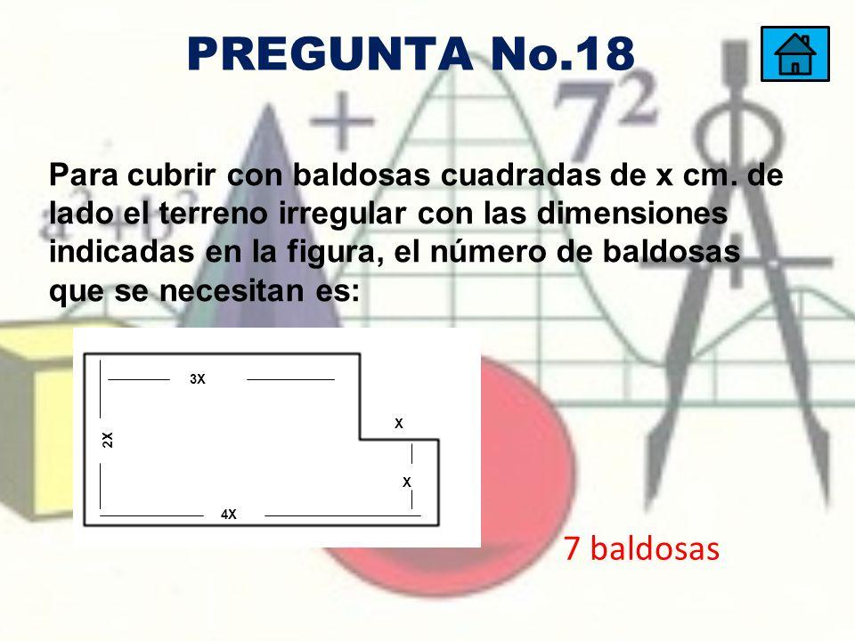 Para cubrir con baldosas cuadradas de x cm. de lado el terreno irregular con las dimensiones indicadas en la figura, el número de baldosas que se nece