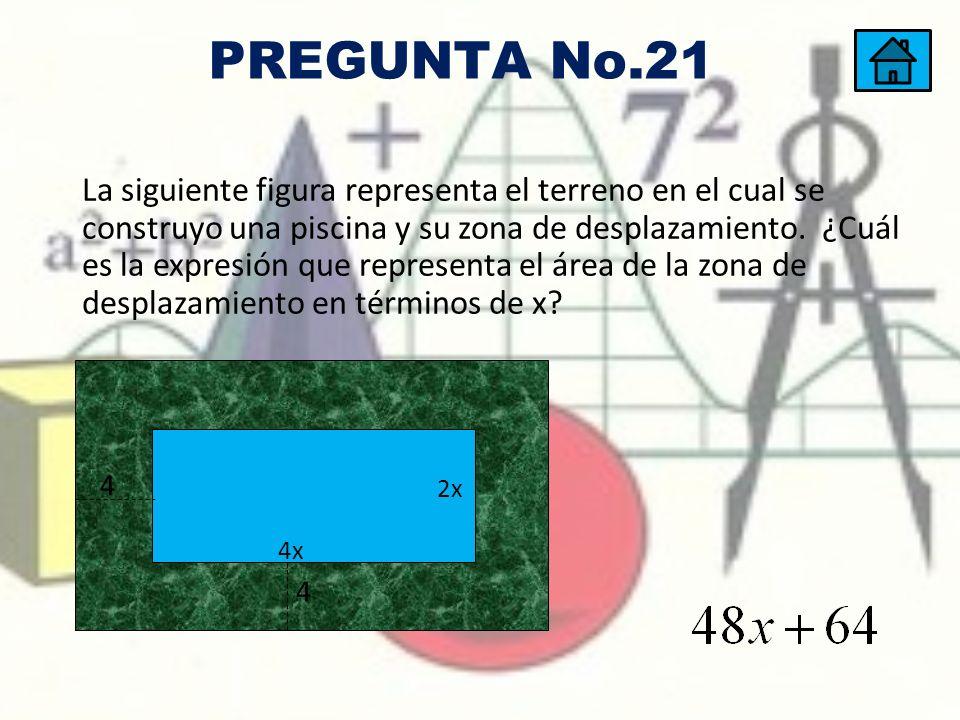 La siguiente figura representa el terreno en el cual se construyo una piscina y su zona de desplazamiento. ¿Cuál es la expresión que representa el áre