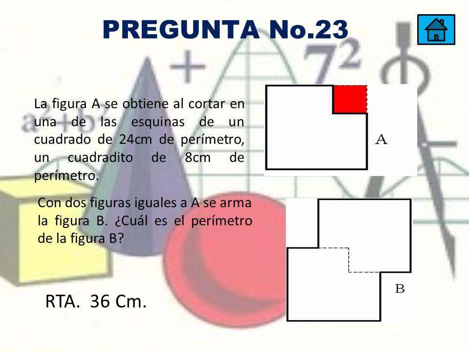 La figura A se obtiene al cortar en una de las esquinas de un cuadrado de 24cm de perímetro, un cuadradito de 8cm de perímetro. Con dos figuras iguale