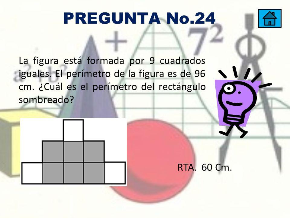 La figura está formada por 9 cuadrados iguales. El perímetro de la figura es de 96 cm. ¿Cuál es el perímetro del rectángulo sombreado? RTA. 60 Cm. PRE