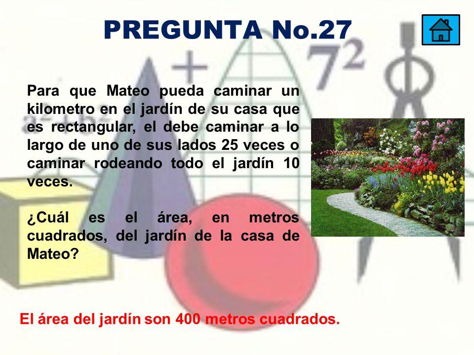 El área del jardín son 400 metros cuadrados. Para que Mateo pueda caminar un kilometro en el jardín de su casa que es rectangular, el debe caminar a l