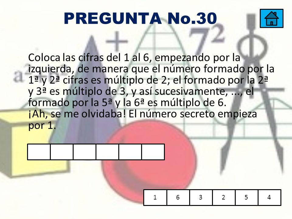 Coloca las cifras del 1 al 6, empezando por la izquierda, de manera que el número formado por la 1ª y 2ª cifras es múltiplo de 2; el formado por la 2ª
