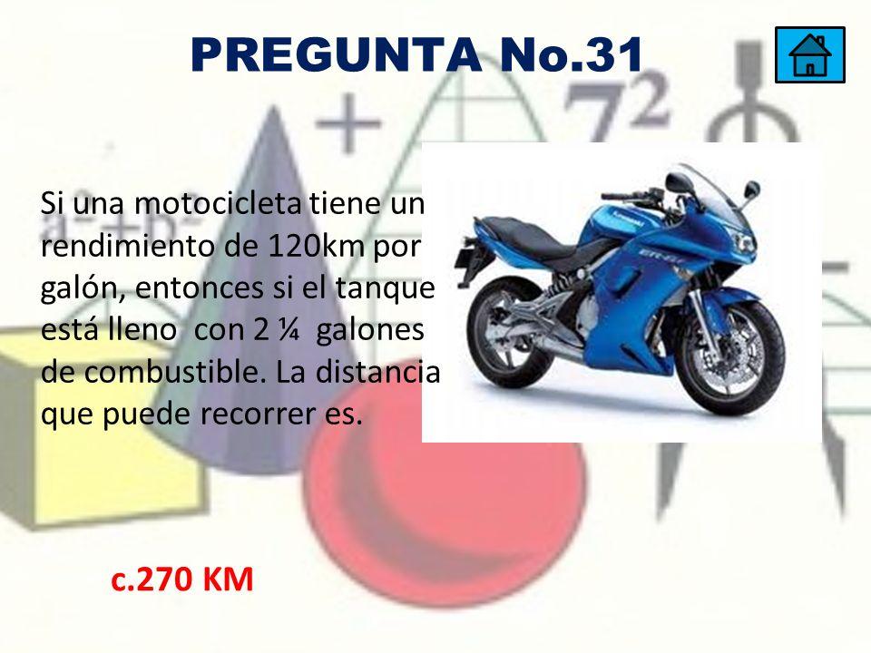 Si una motocicleta tiene un rendimiento de 120km por galón, entonces si el tanque está lleno con 2 ¼ galones de combustible. La distancia que puede re