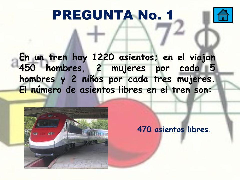En un tren hay 1220 asientos; en el viajan 450 hombres, 2 mujeres por cada 5 hombres y 2 niños por cada tres mujeres. El número de asientos libres en