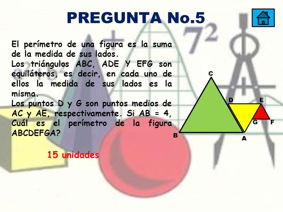 15 unidades El perímetro de una figura es la suma de la medida de sus lados. Los triángulos ABC, ADE Y EFG son equiláteros, es decir, en cada uno de e