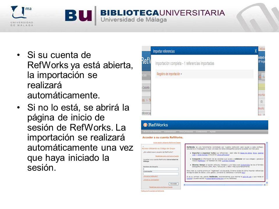 Si su cuenta de RefWorks ya está abierta, la importación se realizará automáticamente. Si no lo está, se abrirá la página de inicio de sesión de RefWo