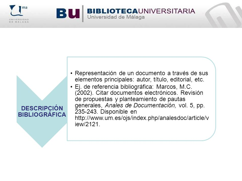 DESCRIPCIÓN BIBLIOGRÁFICA Representación de un documento a través de sus elementos principales: autor, título, editorial, etc. Ej. de referencia bibli