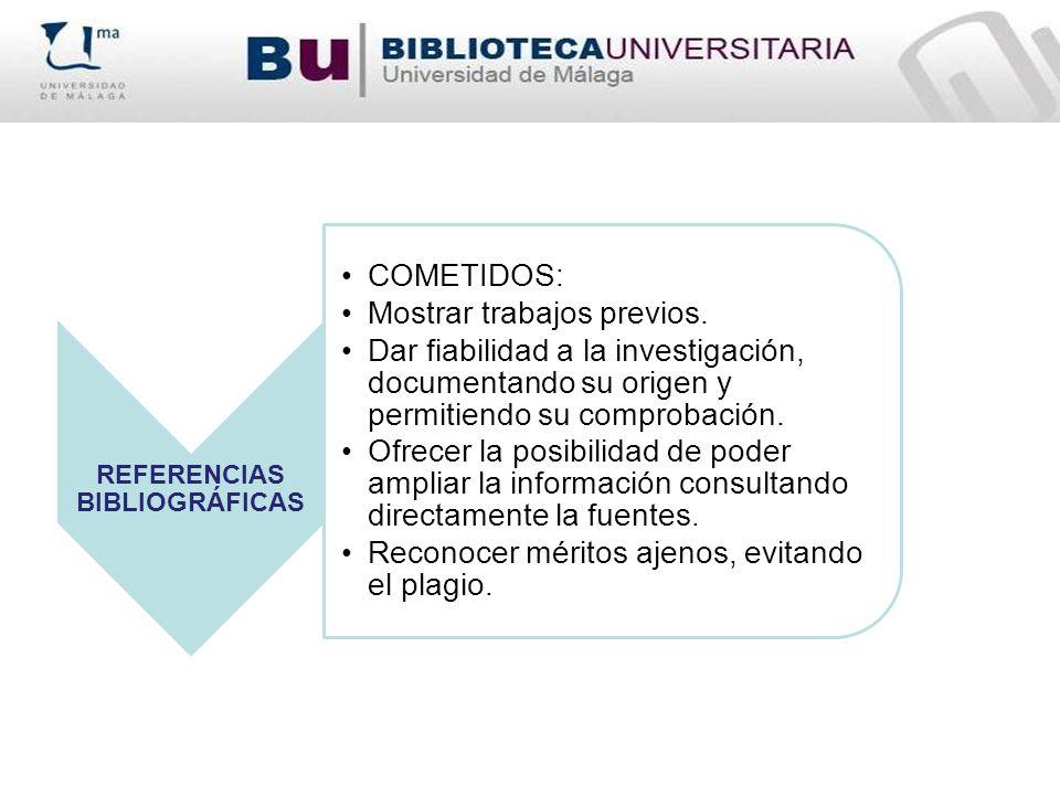 REFERENCIAS BIBLIOGRÁFICAS COMETIDOS: Mostrar trabajos previos. Dar fiabilidad a la investigación, documentando su origen y permitiendo su comprobació