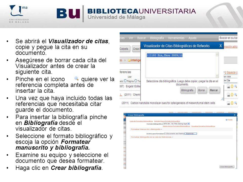 Se abrirá el Visualizador de citas, copie y pegue la cita en su documento. Asegúrese de borrar cada cita del Visualizador antes de crear la siguiente