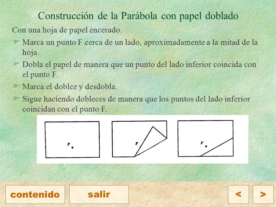 Construcción de la Parábola con papel doblado Con una hoja de papel encerado.