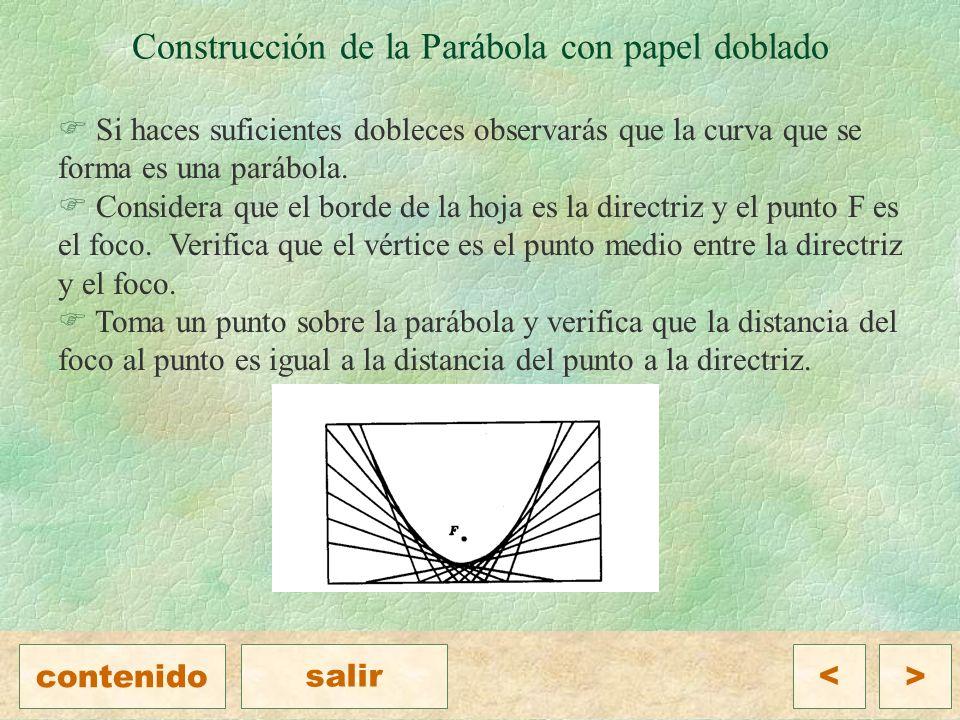 F Si haces suficientes dobleces observarás que la curva que se forma es una parábola.