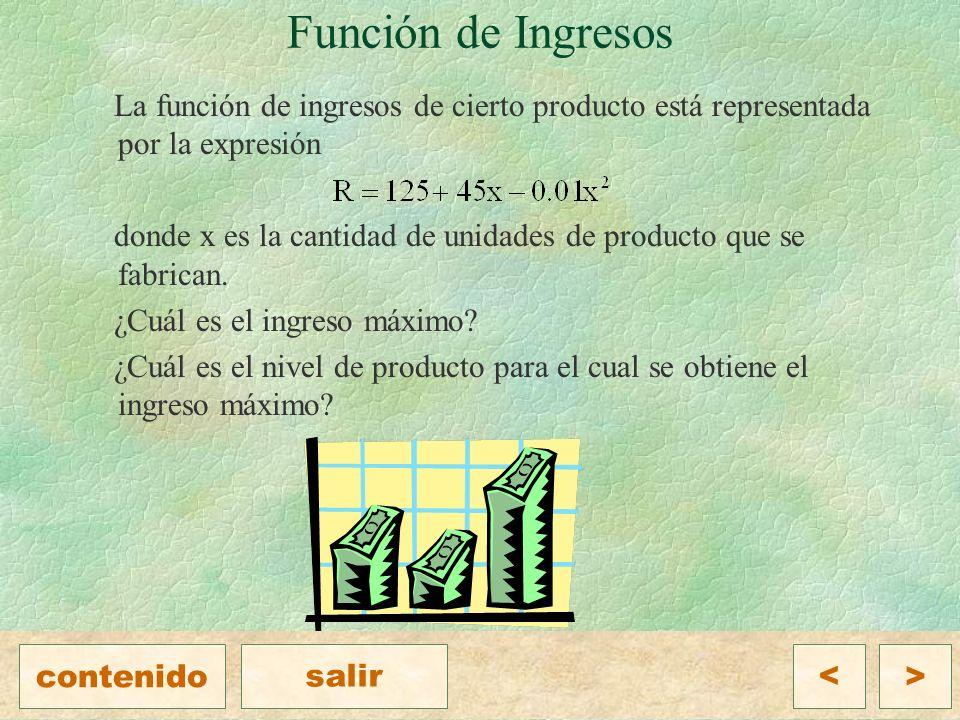 Función de Ingresos La función de ingresos de cierto producto está representada por la expresión donde x es la cantidad de unidades de producto que se fabrican.