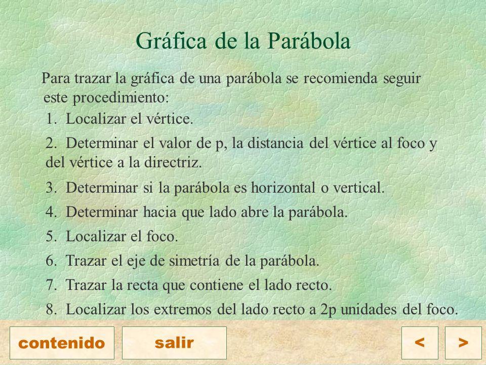 Gráfica de la Parábola Para trazar la gráfica de una parábola se recomienda seguir este procedimiento: 1.