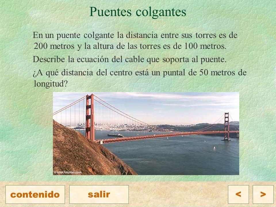 Puentes colgantes En un puente colgante la distancia entre sus torres es de 200 metros y la altura de las torres es de 100 metros.