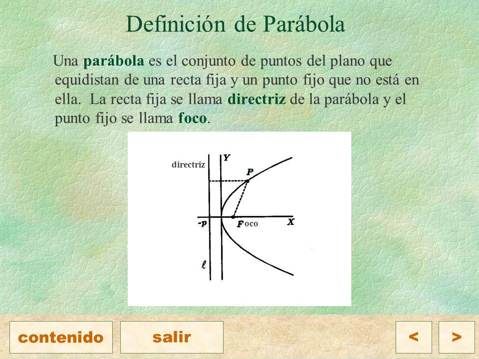 Ejemplo Encuentra el foco, el vértice y la directriz de la parábola que tiene como ecuación Solución Para encontrar fácilmente los elementos de la parábola se debe escribir en su forma estándar, para lo cual es necesario completar el trinomio cuadrado perfecto, esto es, Entonces, el vértice es el punto V(1, -6) y como p = 5, el foco es F(1, -1) y la directriz tiene como ecuación.