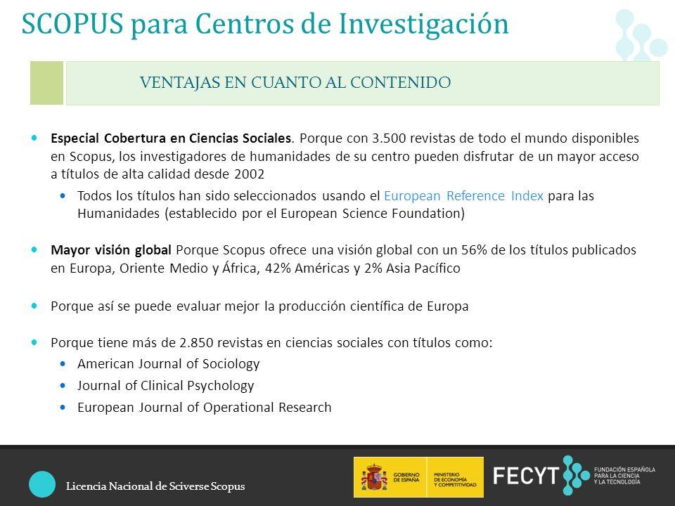 SCOPUS para Centros de Investigación Especial Cobertura en Ciencias Sociales.