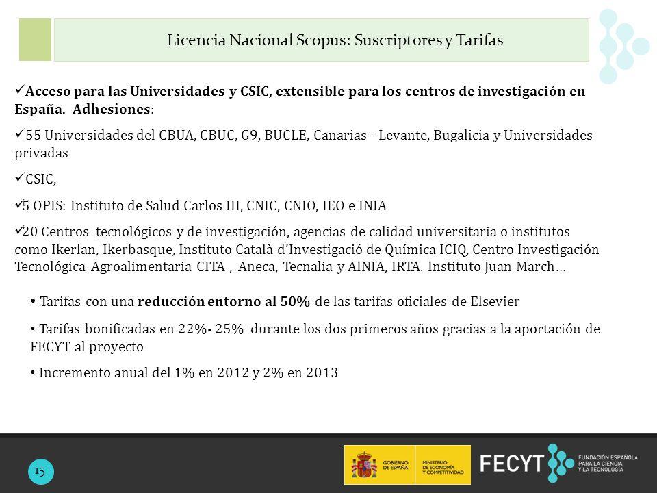Acceso para las Universidades y CSIC, extensible para los centros de investigación en España.