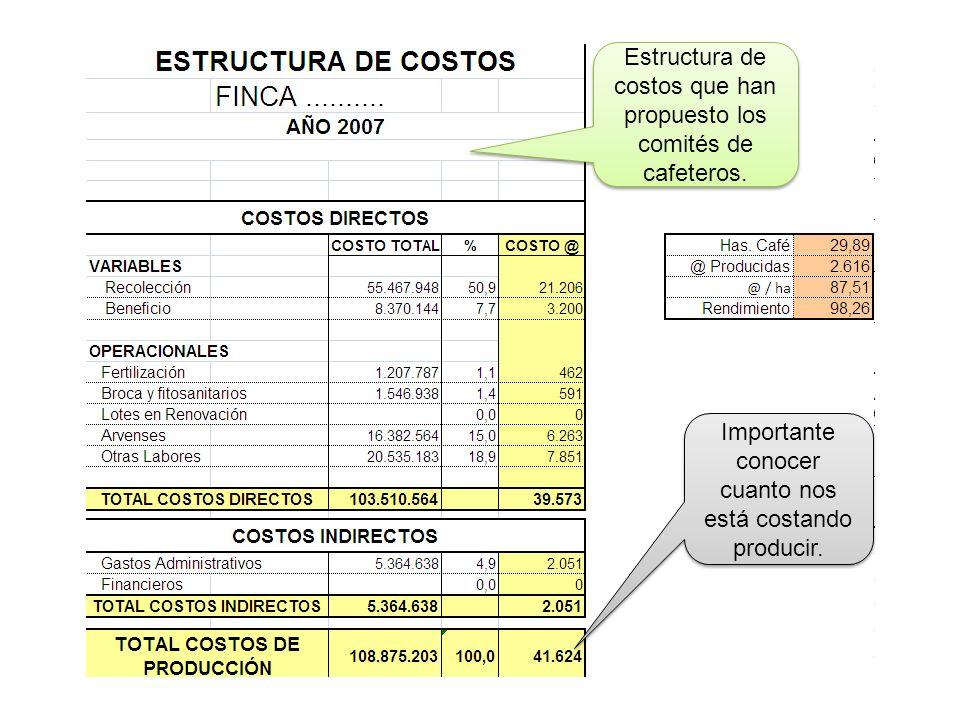 Estructura de costos que han propuesto los comités de cafeteros.