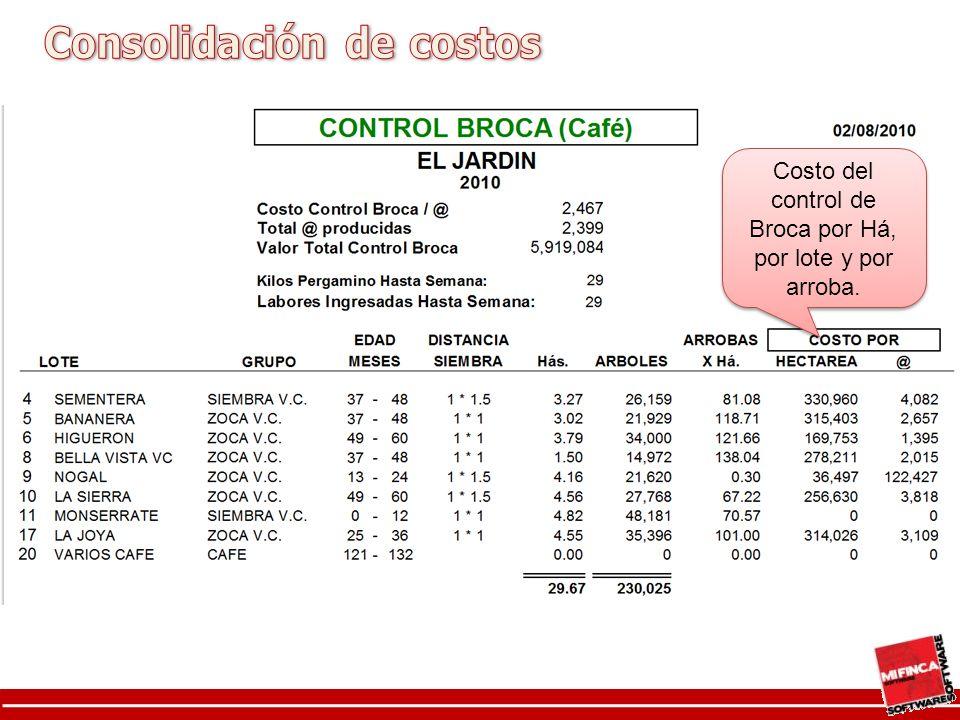 Costo del control de Broca por Há, por lote y por arroba.