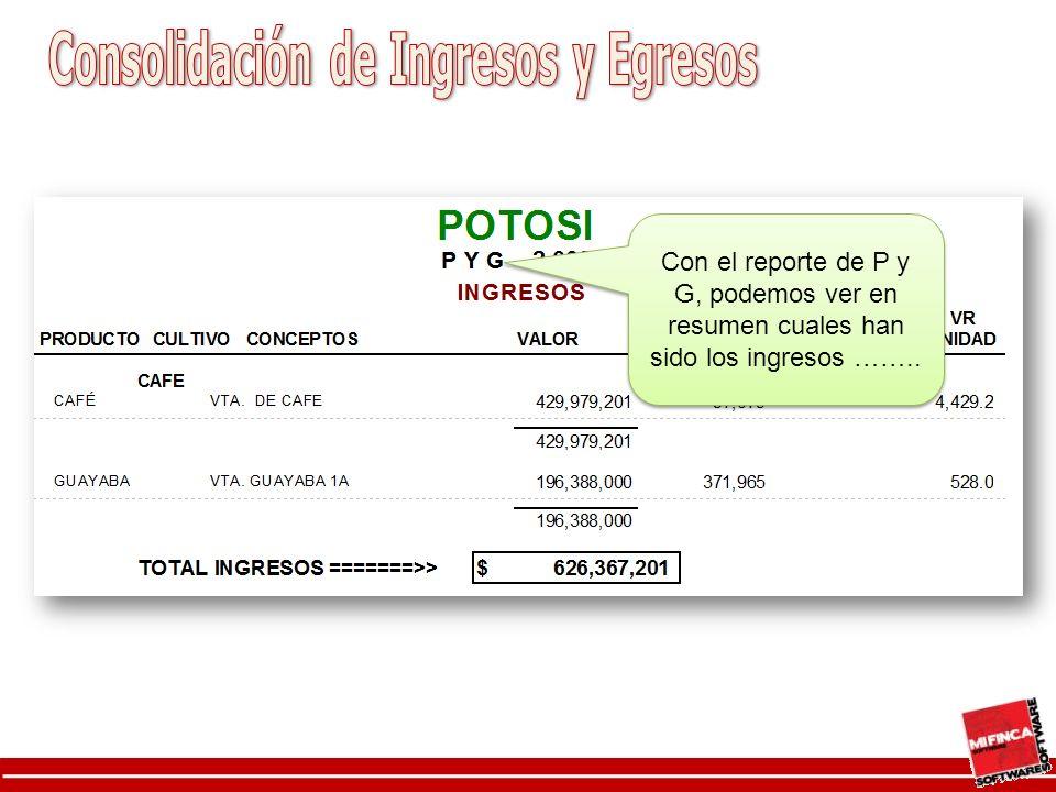 Con el reporte de P y G, podemos ver en resumen cuales han sido los ingresos ……..
