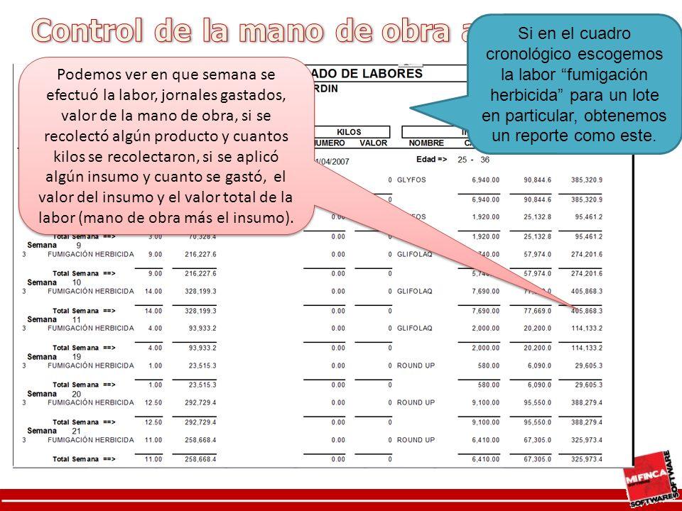 Si en el cuadro cronológico escogemos la labor fumigación herbicida para un lote en particular, obtenemos un reporte como este.