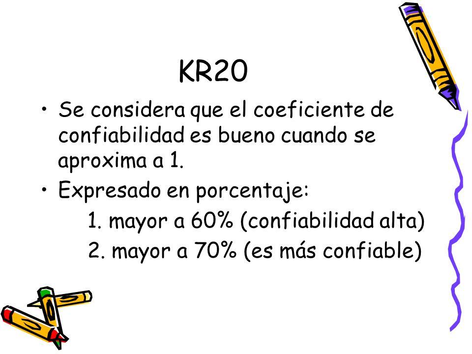 KR20 Se considera que el coeficiente de confiabilidad es bueno cuando se aproxima a 1. Expresado en porcentaje: 1. mayor a 60% (confiabilidad alta) 2.