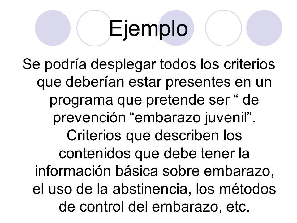 Ejemplo Se podría desplegar todos los criterios que deberían estar presentes en un programa que pretende ser de prevención embarazo juvenil. Criterios