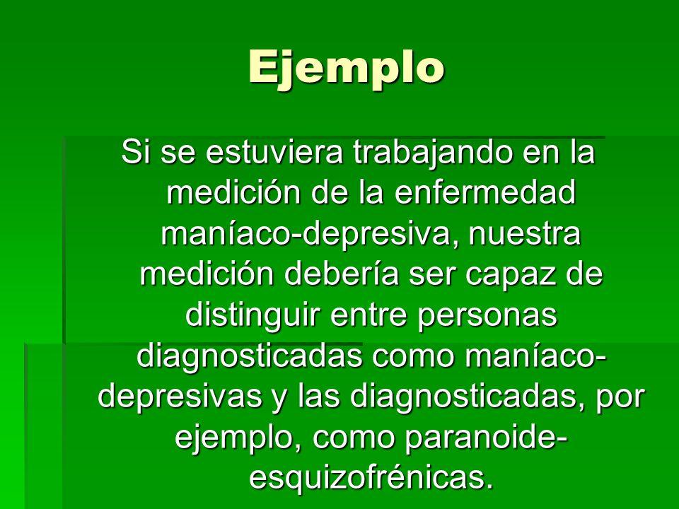 Ejemplo Si se estuviera trabajando en la medición de la enfermedad maníaco-depresiva, nuestra medición debería ser capaz de distinguir entre personas