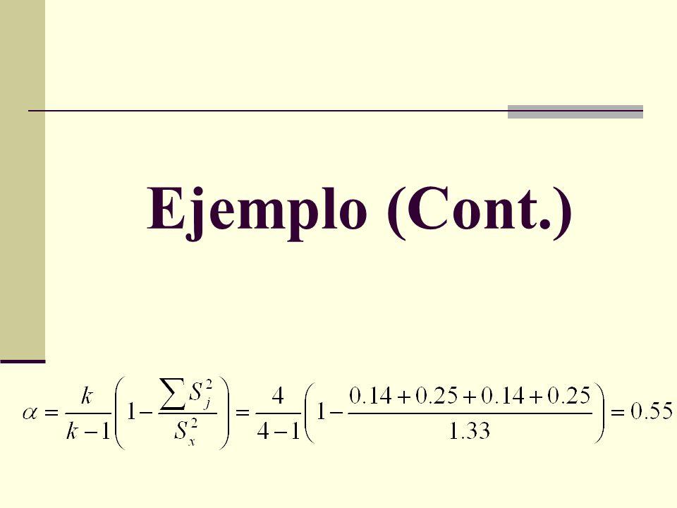 INTERPRETACIÓN En este caso, el coeficiente α obtenido representa un valor medio, que nos indica que no existe un elevado grado de covariación entre los ítems.