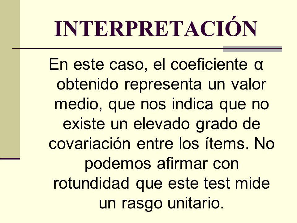 INTERPRETACIÓN (Cont.) El coeficiente α puede obtenerse también entre diferentes grupos de ítems (subtests).