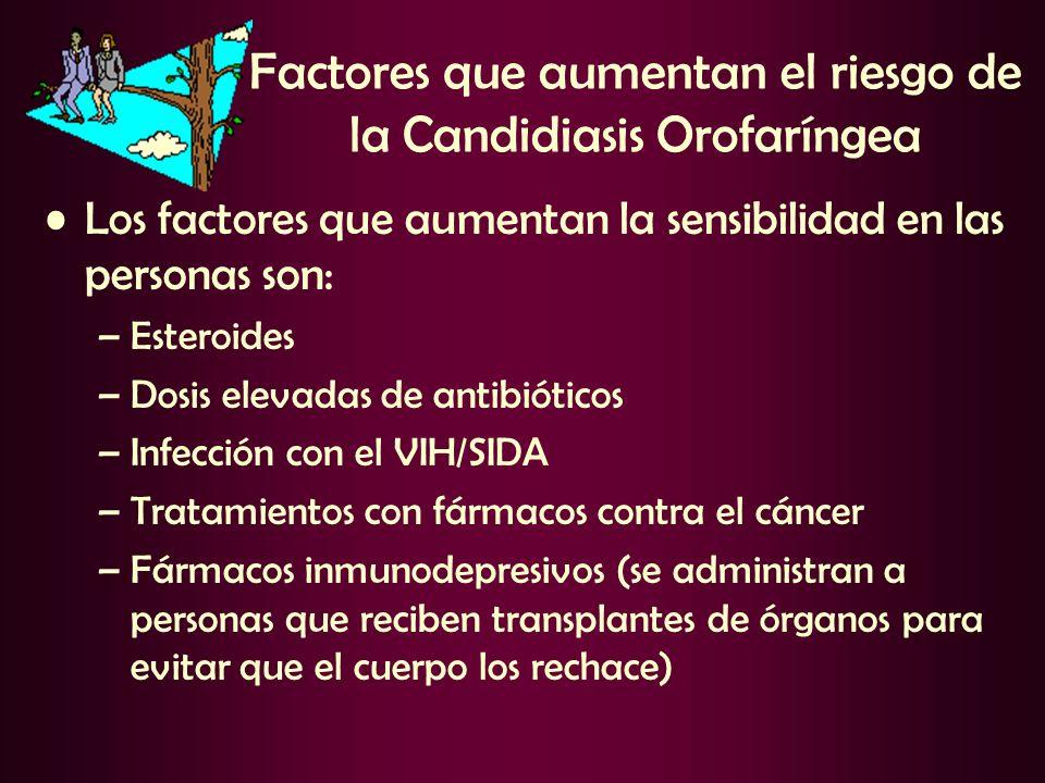 Factores que aumentan el riesgo de la Candidiasis Orofaríngea Los factores que aumentan la sensibilidad en las personas son: –Esteroides –Dosis elevad
