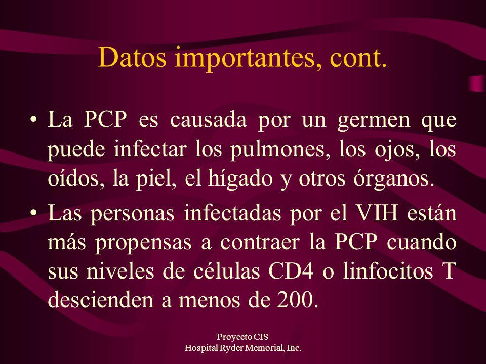 Proyecto CIS Hospital Ryder Memorial, Inc. Datos importantes, cont. La PCP es causada por un germen que puede infectar los pulmones, los ojos, los oíd
