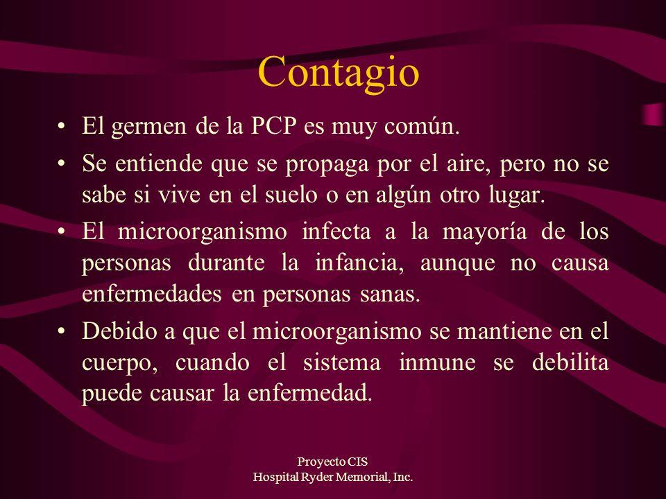 Proyecto CIS Hospital Ryder Memorial, Inc. Contagio El germen de la PCP es muy común. Se entiende que se propaga por el aire, pero no se sabe si vive