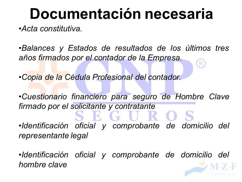 Documentación necesaria Acta constitutiva. Balances y Estados de resultados de los últimos tres años firmados por el contador de la Empresa. Copia de