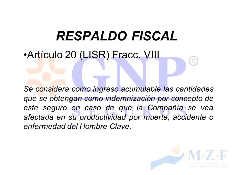 RESPALDO FISCAL Artículo 20 (LISR) Fracc. VIII Se considera como ingreso acumulable las cantidades que se obtengan como indemnización por concepto de