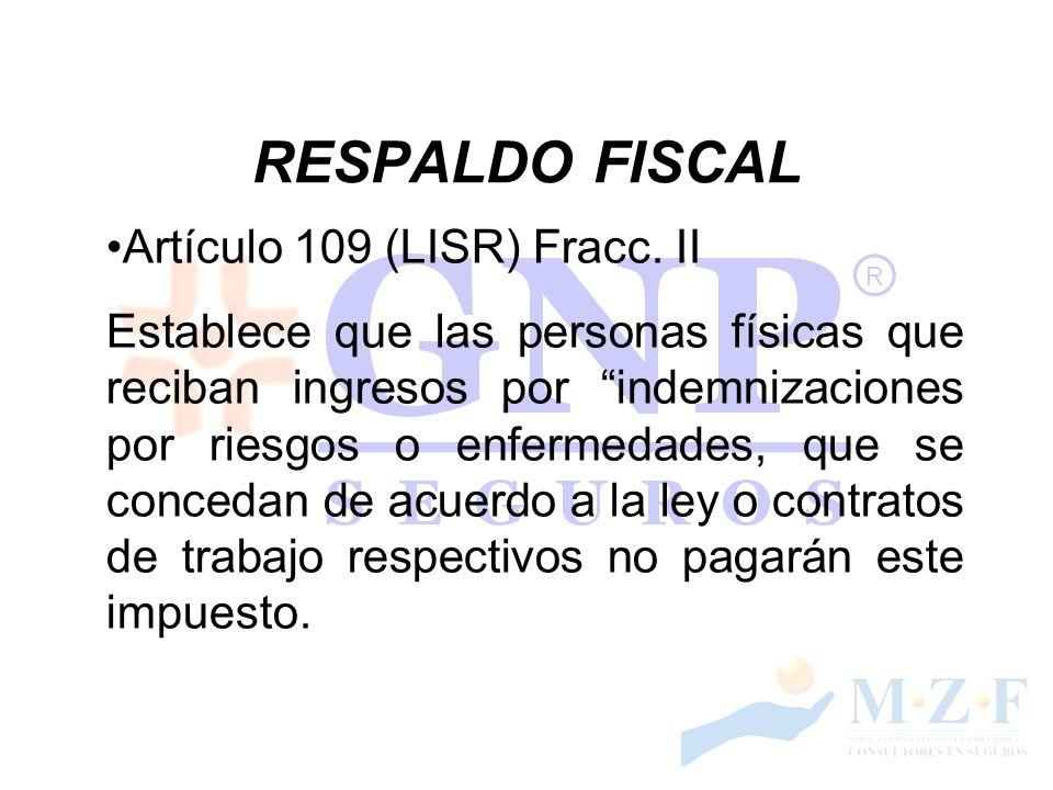 RESPALDO FISCAL Artículo 109 (LISR) Fracc. II Establece que las personas físicas que reciban ingresos por indemnizaciones por riesgos o enfermedades,