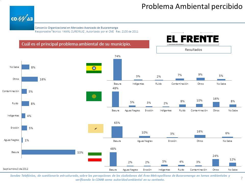 Consorcio Organizacional en Mercadeo Avanzado de Bucaramanga 7 Responsable Técnico: YAMIL CURE RUIZ, Autorizado por el CNE Res. 2100 de 2011 Septiembr