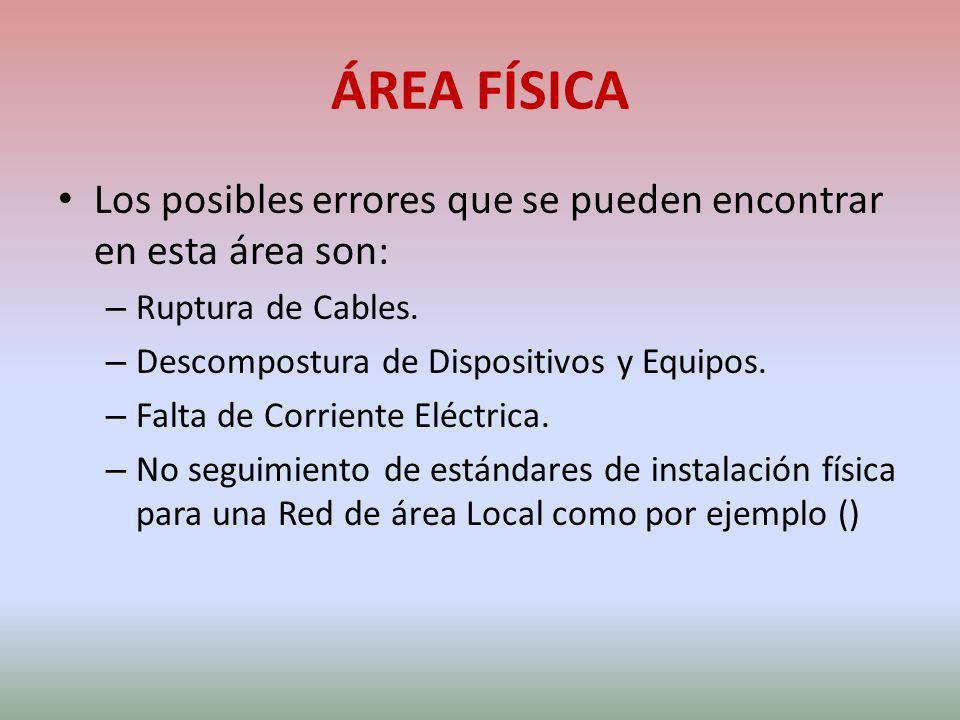 ÁREA FÍSICA Los posibles errores que se pueden encontrar en esta área son: – Ruptura de Cables. – Descompostura de Dispositivos y Equipos. – Falta de