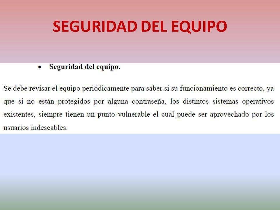 SEGURIDAD DEL EQUIPO