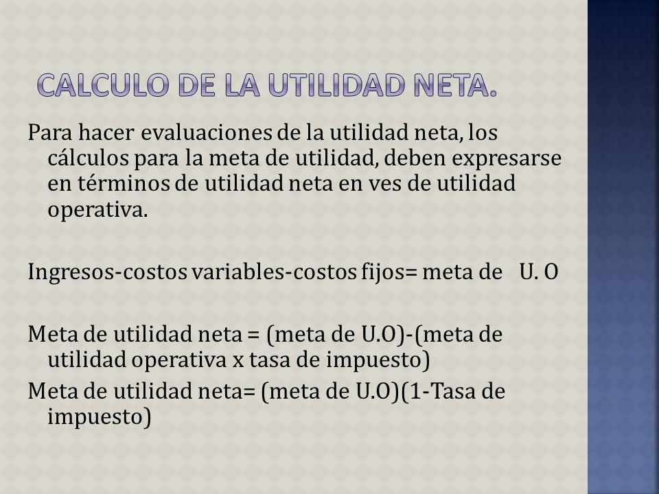 Para hacer evaluaciones de la utilidad neta, los cálculos para la meta de utilidad, deben expresarse en términos de utilidad neta en ves de utilidad o