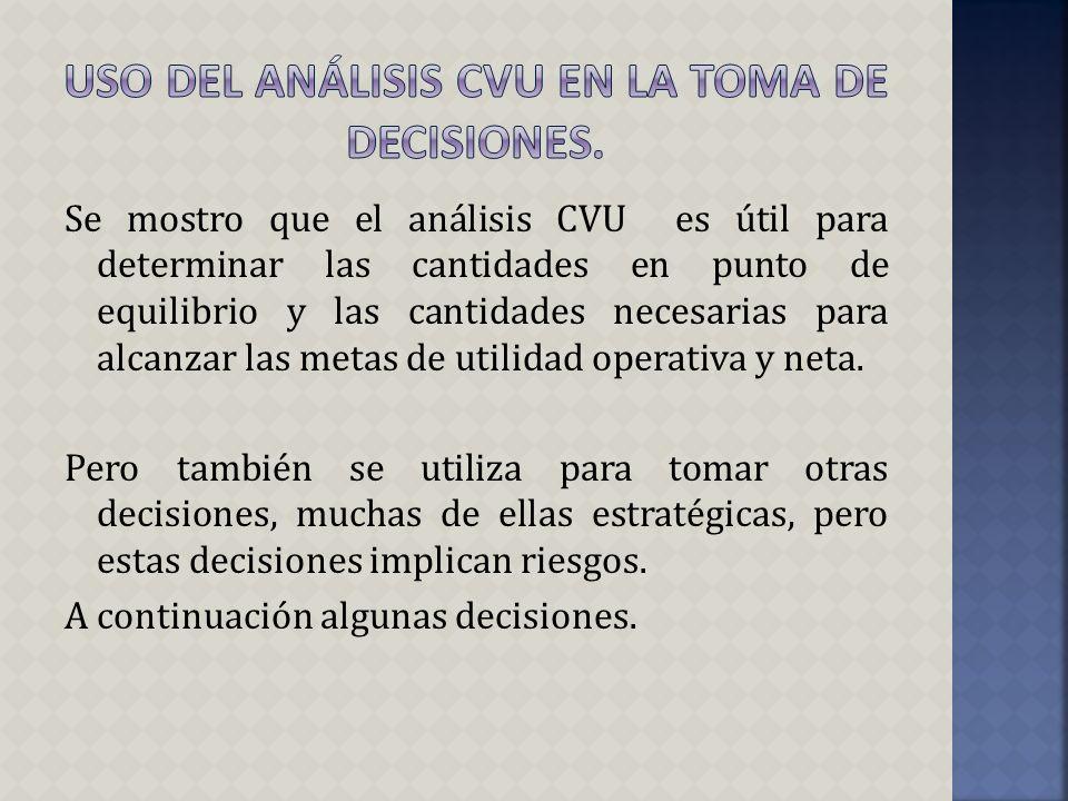 Se mostro que el análisis CVU es útil para determinar las cantidades en punto de equilibrio y las cantidades necesarias para alcanzar las metas de uti