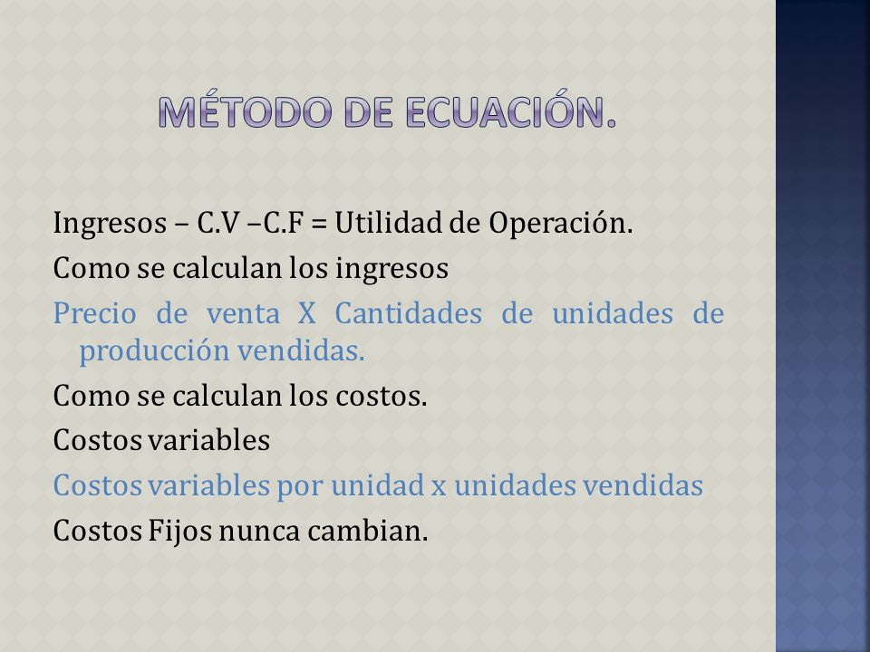 UTILIDAD = * - ORERATIVA = - PRECIO DE VENTA – COSTO VARIABLE UNITARIO COSTOS FIJOS CANTIDAD DE UNIDAD DE PRODUCTOS VENDIDOS CONTRIBUCION MARGINAL UNITARIA X UNIDADES VENDIDAS COSTOS FIJOS.