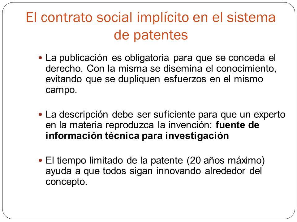 El contrato social implícito en el sistema de patentes La publicación es obligatoria para que se conceda el derecho.