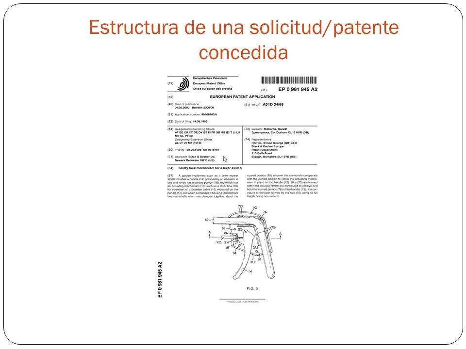 Estructura de una solicitud/patente concedida