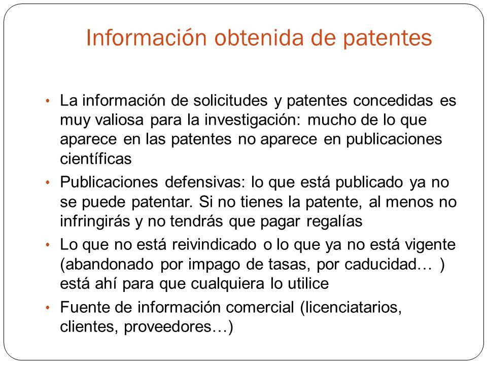 Información obtenida de patentes La información de solicitudes y patentes concedidas es muy valiosa para la investigación: mucho de lo que aparece en las patentes no aparece en publicaciones científicas Publicaciones defensivas: lo que está publicado ya no se puede patentar.